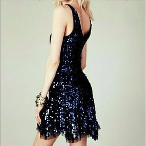 Free People Navy Sequin Shimy Shimmery Party Dress
